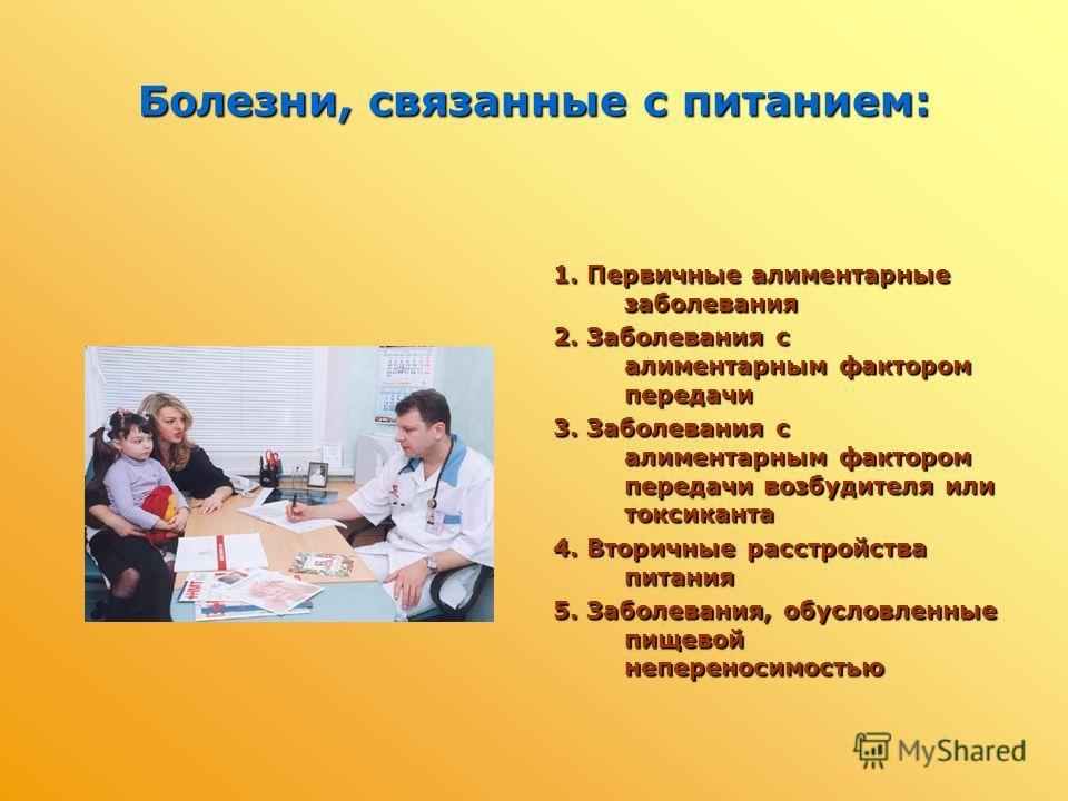 Болезни, связанные с питанием: 1. Первичные алиментарные заболевания 2. Заболевания с алиментарным фактором передачи 3. Заболевания с алиментарным фактором передачи возбудителя или токсиканта 4. Вторичные расстройства питания 5. Заболевания, обусловл