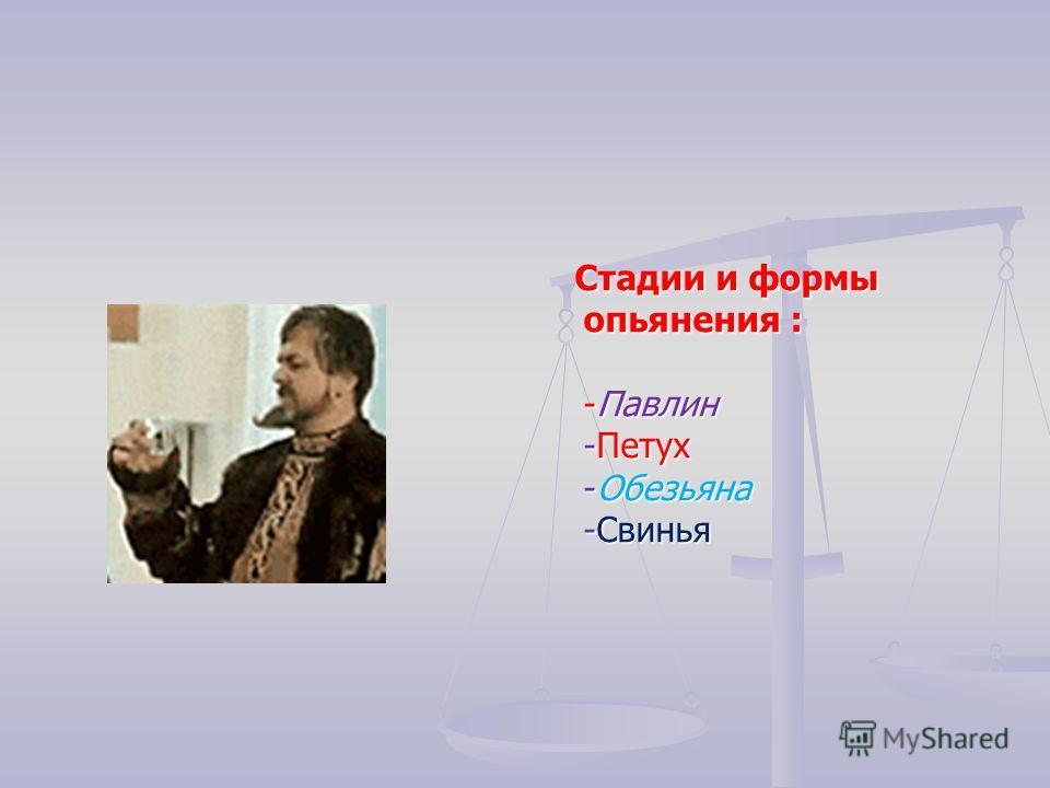 Стадии и формы опьянения : -Павлин -Петух -Обезьяна -Свинья