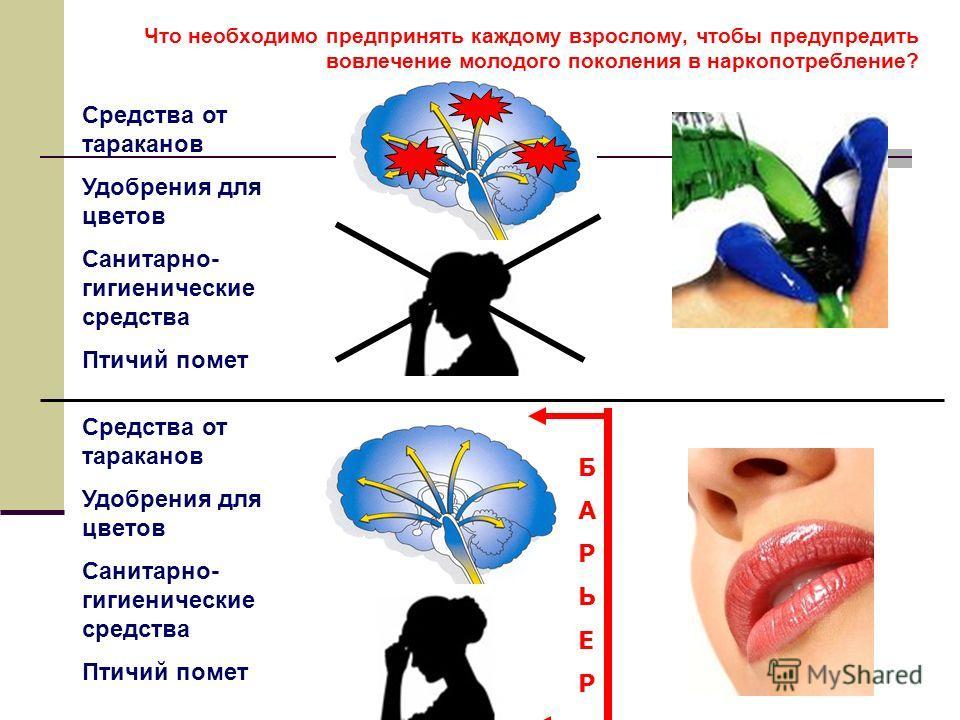 Что необходимо предпринять каждому взрослому, чтобы предупредить вовлечение молодого поколения в наркопотребление? Средства от тараканов Удобрения для цветов Санитарно- гигиенические средства Птичий помет Средства от тараканов Удобрения для цветов Са