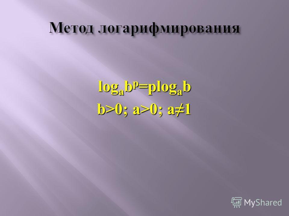 log a b р =рlog a b b>0; a>0; a1