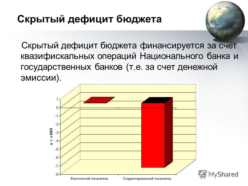 Скрытый дефицит бюджета Скрытый дефицит бюджета финансируется за счет квазифискальных операций Национального банка и государственных банков (т.е. за счет денежной эмиссии).