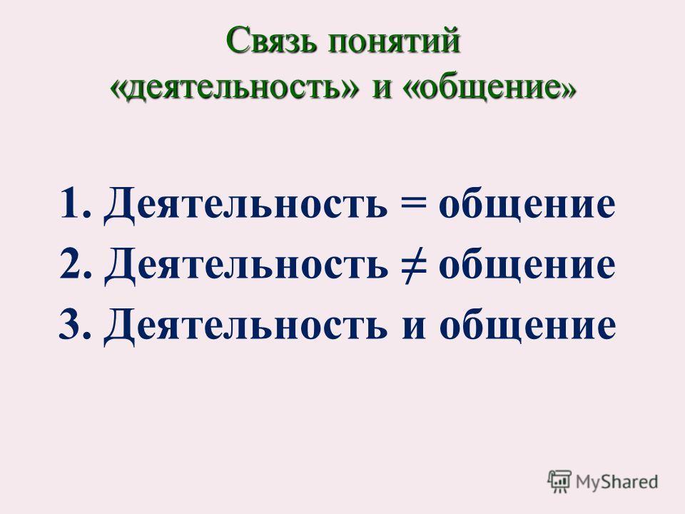 1. Деятельность = общение 2. Деятельность общение 3. Деятельность и общение Связь понятий «деятельность» и «общение »