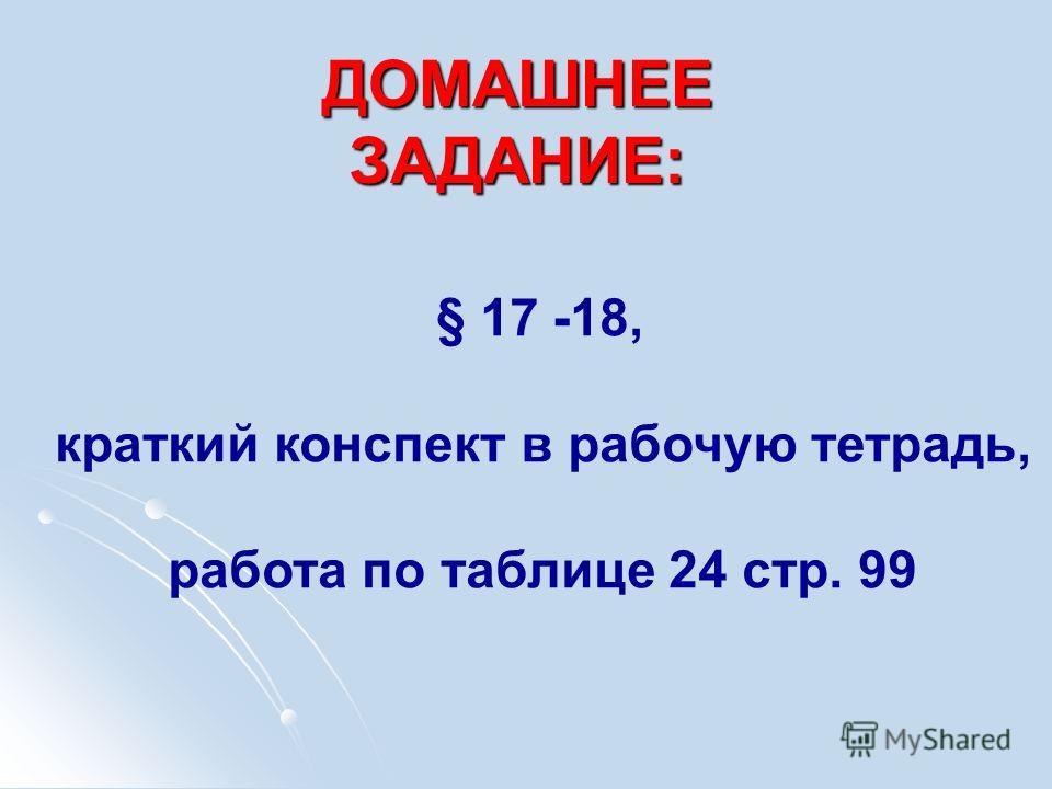 ДОМАШНЕЕ ЗАДАНИЕ: § 17 -18, краткий конспект в рабочую тетрадь, работа по таблице 24 стр. 99