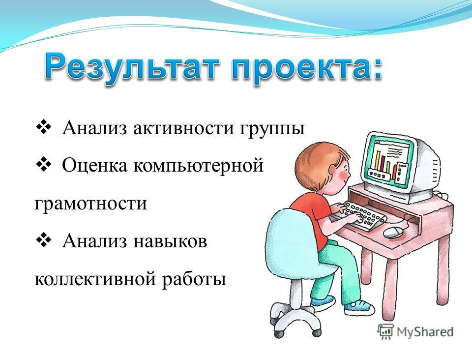 Анализ активности группы Оценка компьютерной грамотности Анализ навыков коллективной работы
