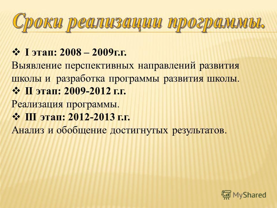 I этап: 2008 – 2009г.г. Выявление перспективных направлений развития школы и разработка программы развития школы. II этап: 2009-2012 г.г. Реализация программы. III этап: 2012-2013 г.г. Анализ и обобщение достигнутых результатов.