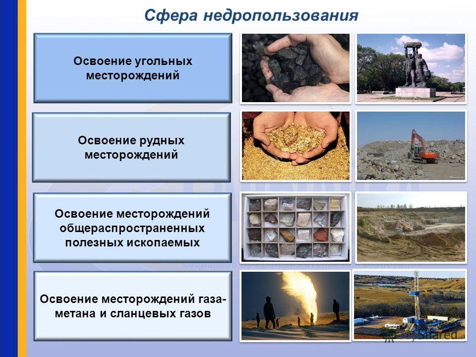 Освоение угольных месторождений Освоение рудных месторождений Освоение месторождений общераспространенных полезных ископаемых Освоение месторождений газа- метана и сланцевых газов Сфера недропользования
