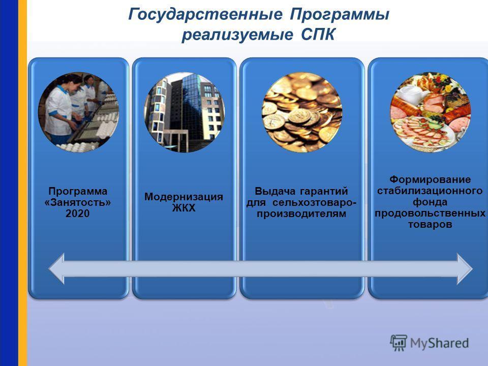 Государственные Программы реализуемые СПК Программа «Занятость» 2020 Модернизация ЖКХ Выдача гарантий для сельхозтоваро- производителям Формирование стабилизационного фонда продовольственных товаров