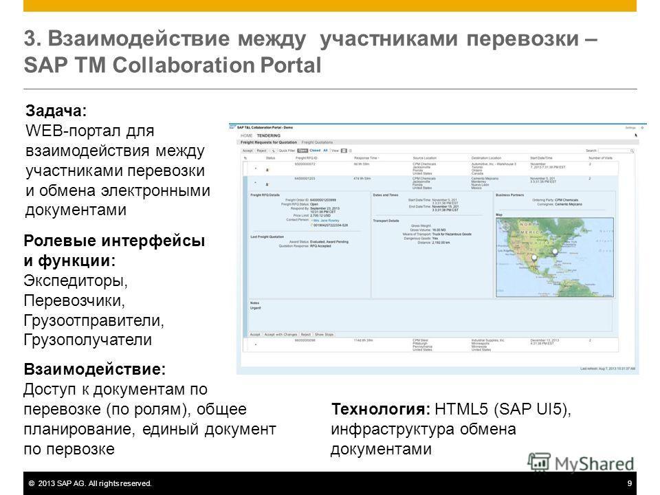 ©2013 SAP AG. All rights reserved.9 3. Взаимодействие между участниками перевозки – SAP TM Collaboration Portal Задача: WEB-портал для взаимодействия между участниками перевозки и обмена электронными документами Ролевые интерфейсы и функции: Экспедит