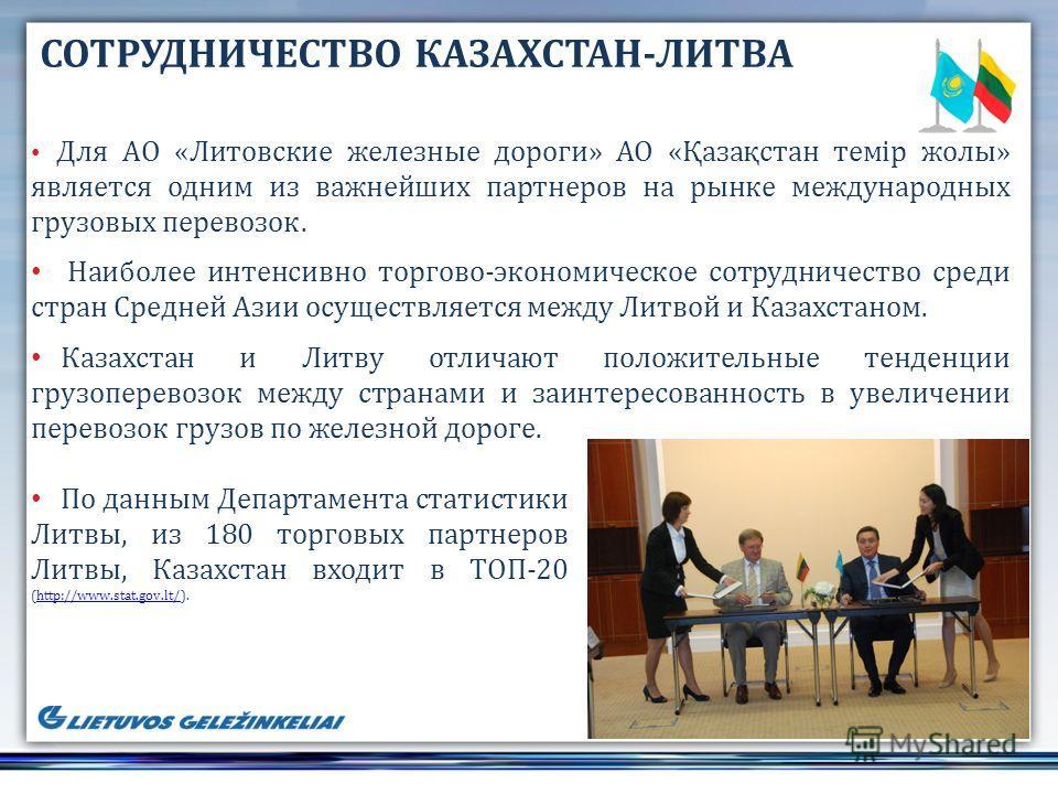 По данным Департамента статистики Литвы, из 180 торговых партнеров Литвы, Казахстан входит в ТОП-20 (http://www.stat.gov.lt/).http://www.stat.gov.lt/ СОТРУДНИЧЕСТВО КАЗАХСТАН-ЛИТВА Для АО «Литовские железные дороги» АО «Қазақстан темір жолы» является