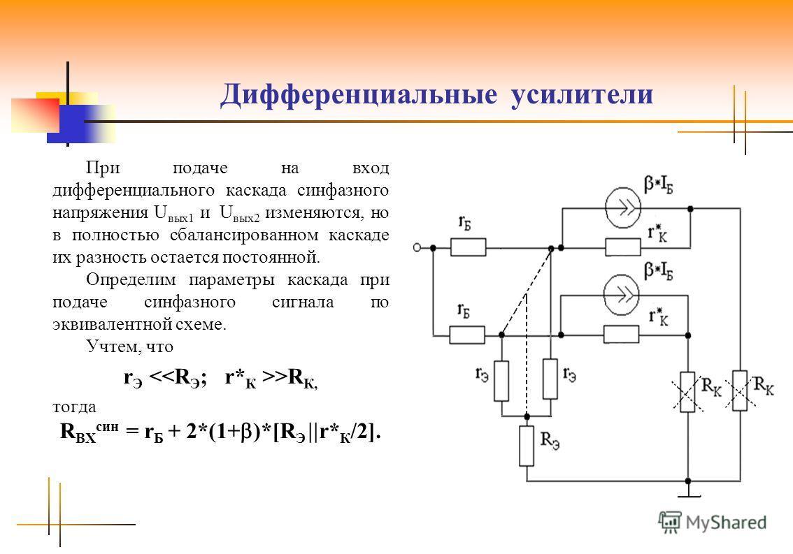 Дифференциальные усилители При подаче на вход дифференциального каскада синфазного напряжения U вых1 и U вых2 изменяются, но в полностью сбалансированном каскаде их разность остается постоянной. Определим параметры каскада при подаче синфазного сигна