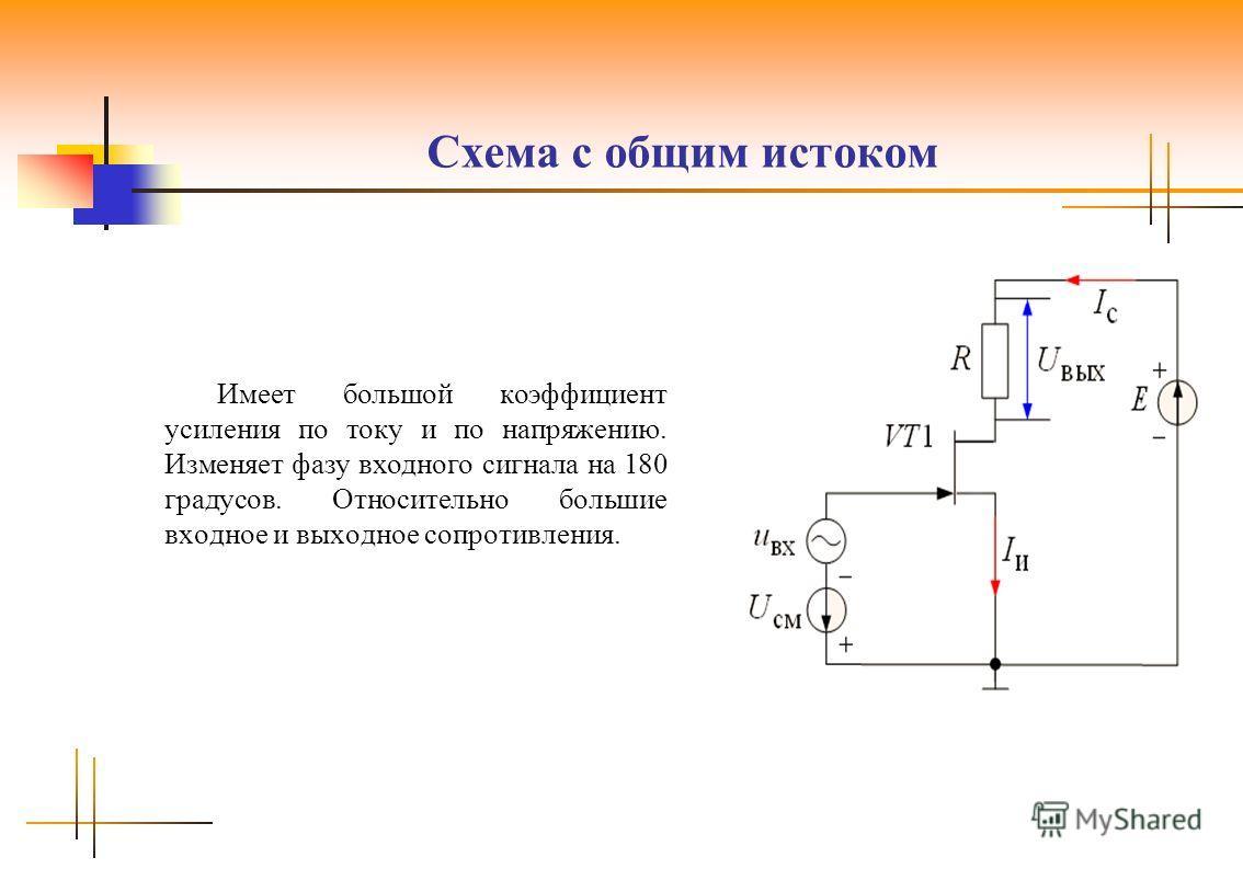 Схема с общим истоком Имеет большой коэффициент усиления по току и по напряжению. Изменяет фазу входного сигнала на 180 градусов. Относительно большие входное и выходное сопротивления.