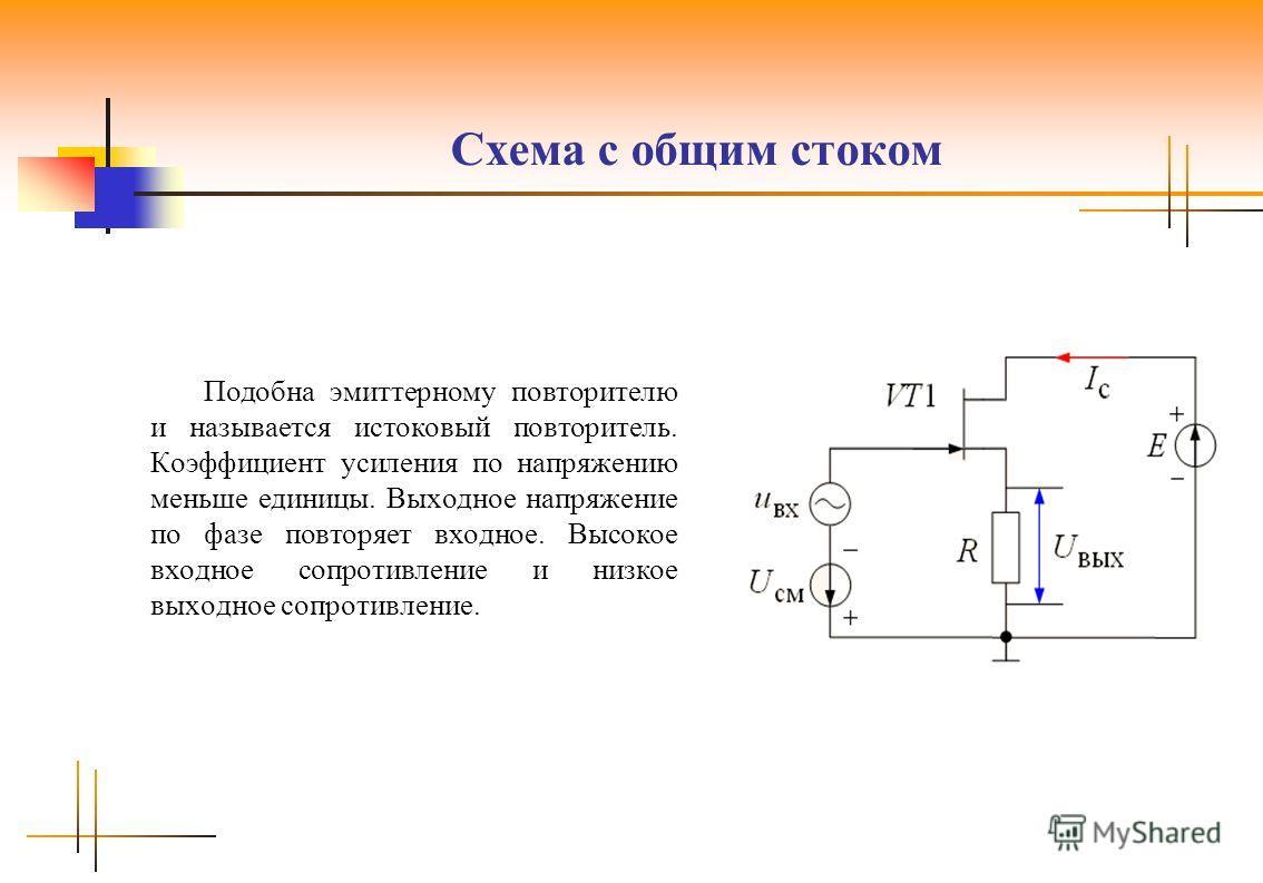 Схема с общим стоком Подобна эмиттерному повторителю и называется истоковый повторитель. Коэффициент усиления по напряжению меньше единицы. Выходное напряжение по фазе повторяет входное. Высокое входное сопротивление и низкое выходное сопротивление.