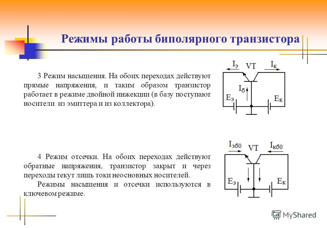 Режимы работы биполярного транзистора 3 Режим насыщения. На обоих переходах действуют прямые напряжения, и таким образом транзистор работает в режиме двойной инжекции (в базу поступают носители из эмиттера и из коллектора). 4 Режим отсечки. На обоих