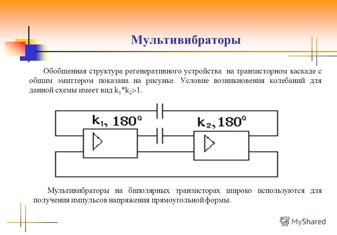 Мультивибраторы Обобщенная структура регенеративного устройства на транзисторном каскаде с общим эмиттером показана на рисунке. Условие возникновения колебаний для данной схемы имеет вид k 1 *k 2. Мультивибраторы на биполярных транзисторах широко исп