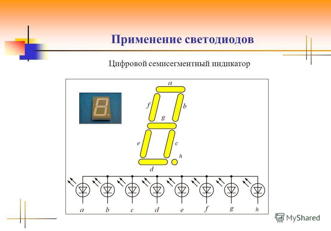 Применение светодиодов Цифровой семисегментный индикатор
