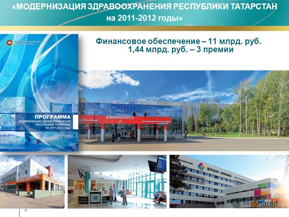 8 Финансовое обеспечение – 11 млрд. руб. 1,44 млрд. руб. – 3 премии «МОДЕРНИЗАЦИЯ ЗДРАВООХРАНЕНИЯ РЕСПУБЛИКИ ТАТАРСТАН на 2011-2012 годы»