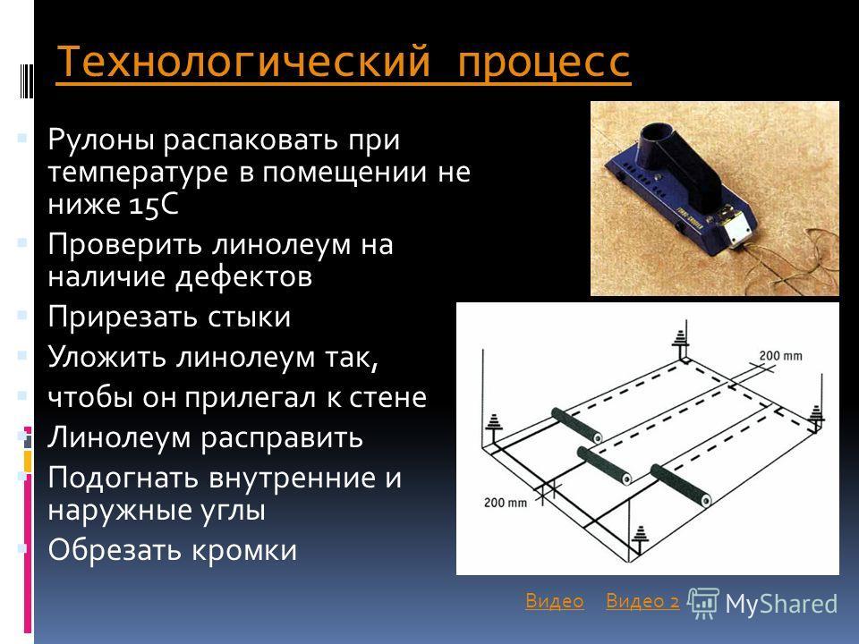 Технологический процесс Рулоны распаковать при температуре в помещении не ниже 15С Проверить линолеум на наличие дефектов Прирезать стыки Уложить линолеум так, чтобы он прилегал к стене Линолеум расправить Подогнать внутренние и наружные углы Обрезат