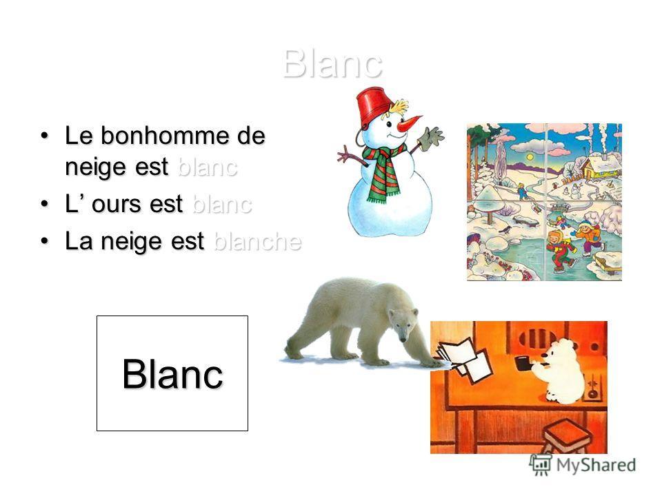 Blanc Le bonhomme de neige est blancLe bonhomme de neige est blanc L ours est blancL ours est blanc La neige est blancheLa neige est blanche Blanc