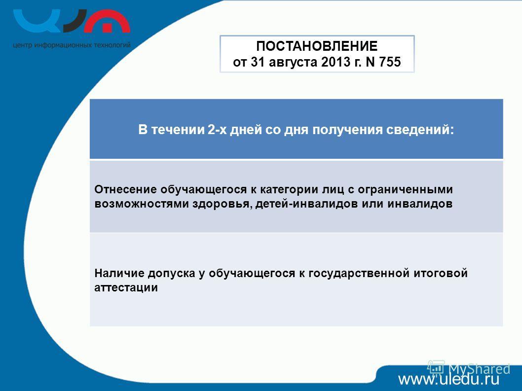www.uledu.ru В течении 2-х дней со дня получения сведений: Отнесение обучающегося к категории лиц с ограниченными возможностями здоровья, детей-инвалидов или инвалидов Наличие допуска у обучающегося к государственной итоговой аттестации ПОСТАНОВЛЕНИЕ