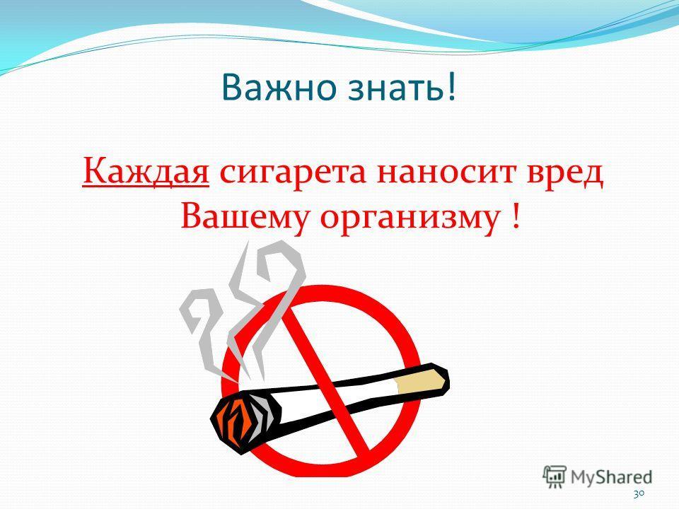 Важно знать! Каждая сигарета наносит вред Вашему организму ! 30