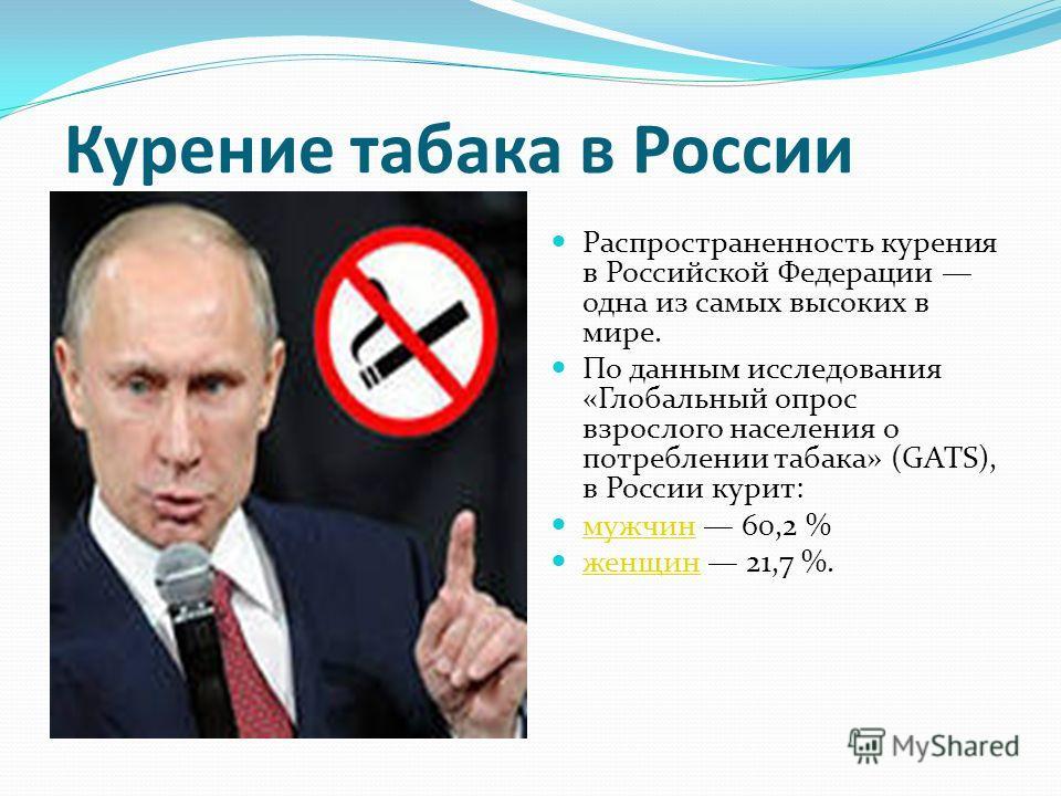 Курение табака в России Распространенность курения в Российской Федерации одна из самых высоких в мире. По данным исследования «Глобальный опрос взрослого населения о потреблении табака» (GATS), в России курит: мужчин 60,2 % мужчин женщин 21,7 %. жен