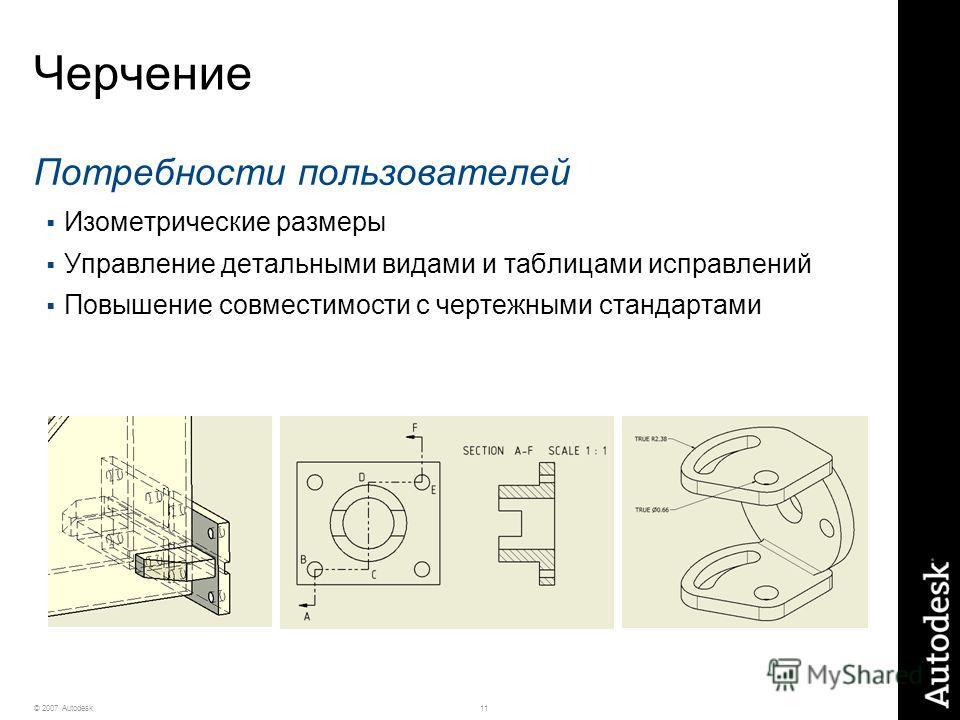 11© 2007 Autodesk Черчение Потребности пользователей Изометрические размеры Управление детальными видами и таблицами исправлений Повышение совместимости с чертежными стандартами