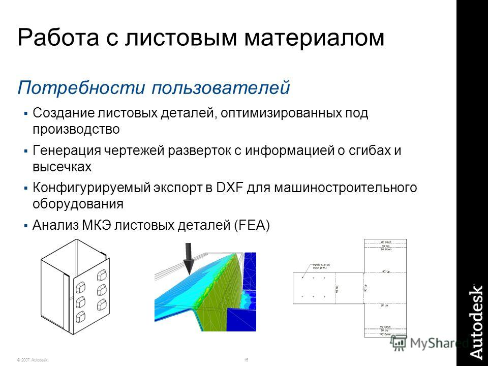 15© 2007 Autodesk Работа с листовым материалом Потребности пользователей Создание листовых деталей, оптимизированных под производство Генерация чертежей разверток с информацией о сгибах и высечках Конфигурируемый экспорт в DXF для машиностроительного