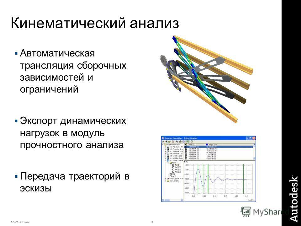 19© 2007 Autodesk Кинематический анализ Автоматическая трансляция сборочных зависимостей и ограничений Экспорт динамических нагрузок в модуль прочностного анализа Передача траекторий в эскизы