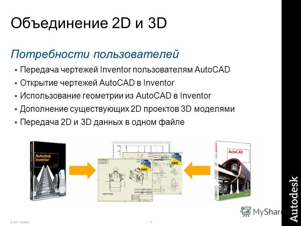 3© 2007 Autodesk Объединение 2D и 3D Потребности пользователей Передача чертежей Inventor пользователям AutoCAD Открытие чертежей AutoCAD в Inventor Использование геометрии из AutoCAD в Inventor Дополнение существующих 2D проектов 3D моделями Передач