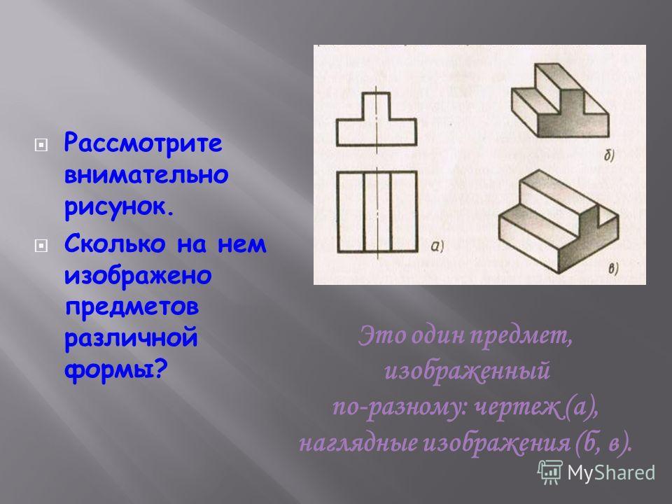 Рассмотрите внимательно рисунок. Сколько на нем изображено предметов различной формы? Это один предмет, изображенный по-разному: чертеж (а), наглядные изображения (б, в).