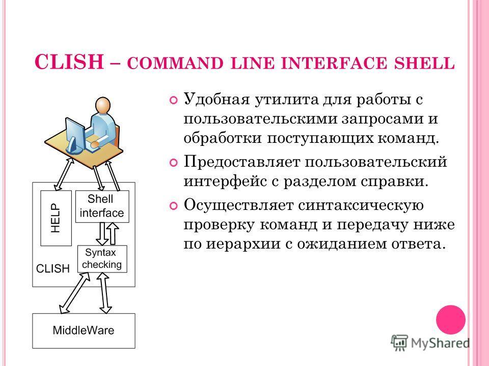 CLISH – COMMAND LINE INTERFACE SHELL Удобная утилита для работы с пользовательскими запросами и обработки поступающих команд. Предоставляет пользовательский интерфейс с разделом справки. Осуществляет синтаксическую проверку команд и передачу ниже по