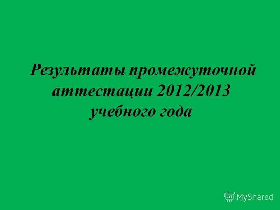 Результаты промежуточной аттестации 2012/2013 учебного года