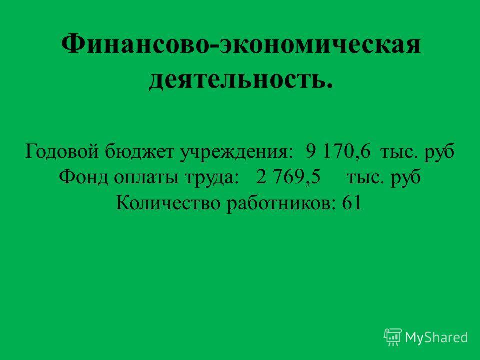 Финансово-экономическая деятельность. Годовой бюджет учреждения: 9 170,6 тыс. руб Фонд оплаты труда: 2 769,5 тыс. руб Количество работников: 61