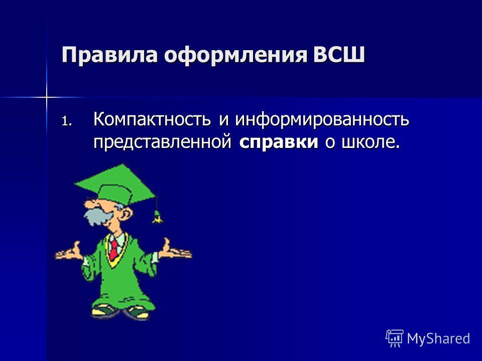 Правила оформления ВСШ 1. Компактность и информированность представленной справки о школе.