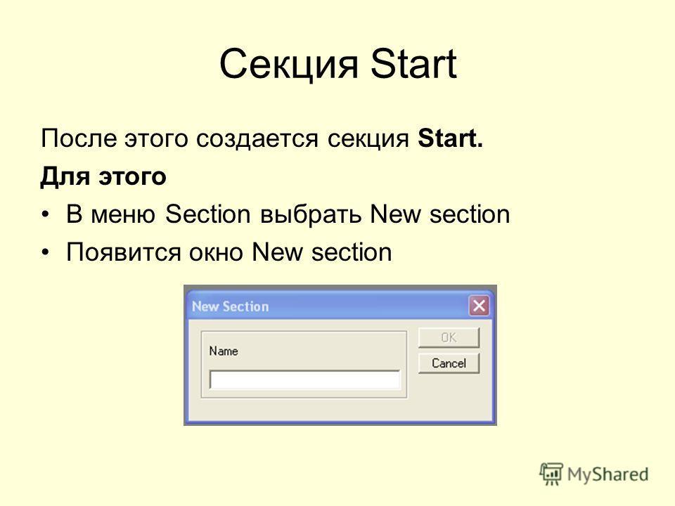 Секция Start После этого создается секция Start. Для этого В меню Section выбрать New section Появится окно New section