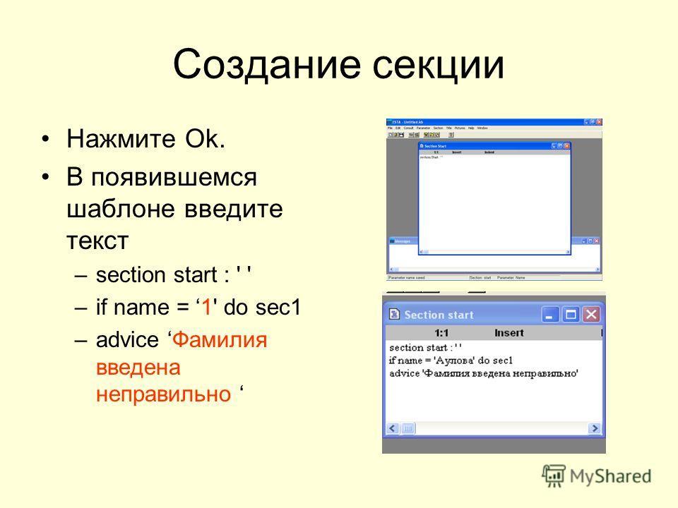 Создание секции Нажмите Ok. В появившемся шаблоне введите текст –section start : ' ' –if name = 1' do sec1 –advice Фамилия введена неправильно