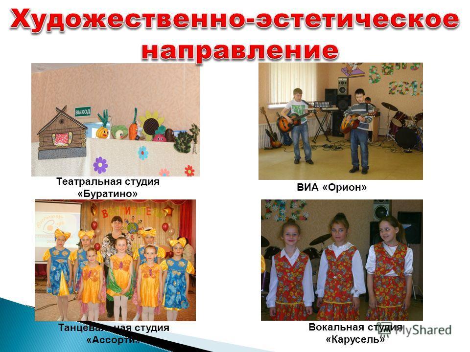 Театральная студия «Буратино» ВИА «Орион» Танцевальная студия «Ассорти» Вокальная студия «Карусель»