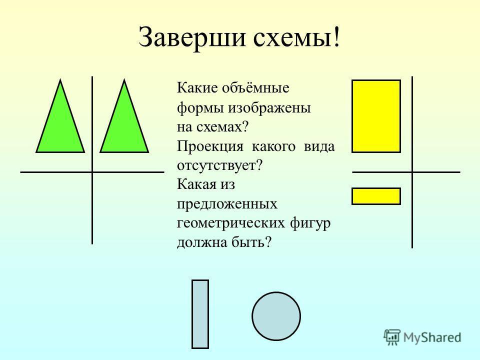 Заверши схемы! Какие объёмные формы изображены на схемах? Проекция какого вида отсутствует? Какая из предложенных геометрических фигур должна быть?