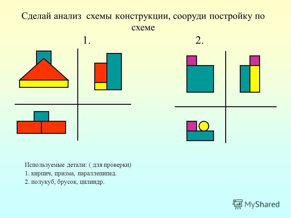 Сделай анализ схемы конструкции, сооруди постройку по схеме 1. 2. Используемые детали: ( для проверки) 1. кирпич, призма, параллепипед. 2. полукуб, брусок, цилиндр.
