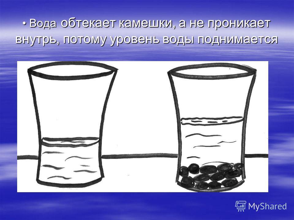 Вода обтекает камешки, а не проникает внутрь, потому уровень воды поднимается Вода обтекает камешки, а не проникает внутрь, потому уровень воды поднимается