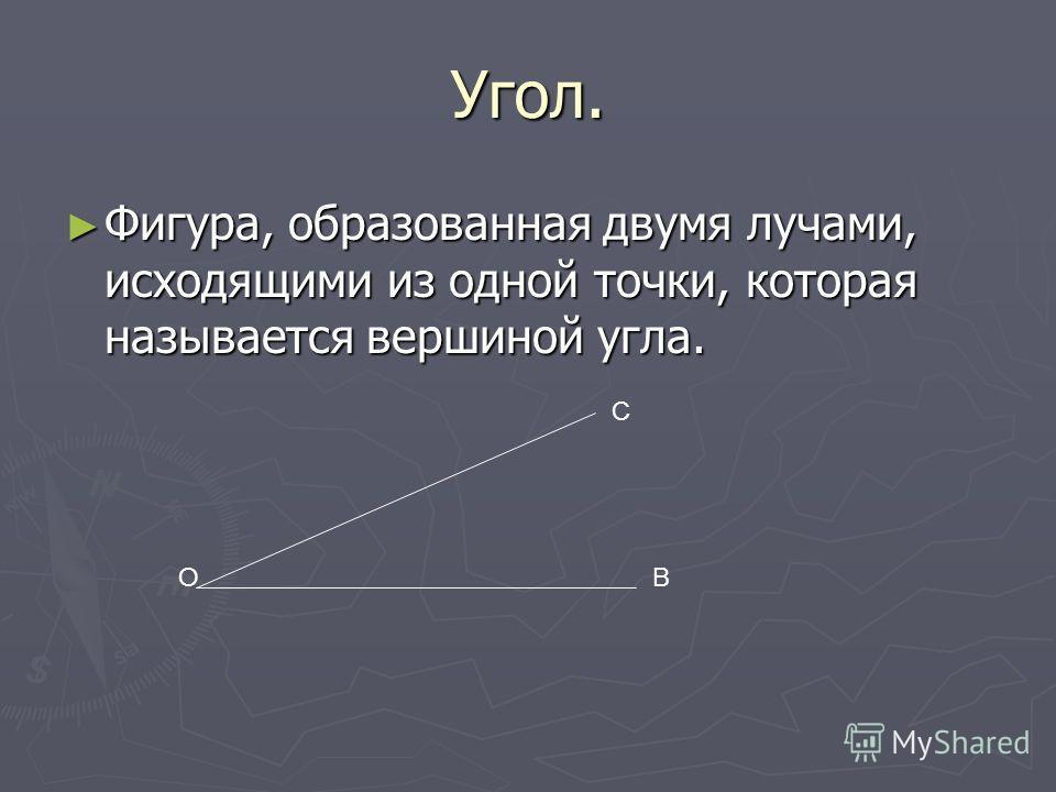 Угол. Фигура, образованная двумя лучами, исходящими из одной точки, которая называется вершиной угла. Фигура, образованная двумя лучами, исходящими из одной точки, которая называется вершиной угла. ОВ С