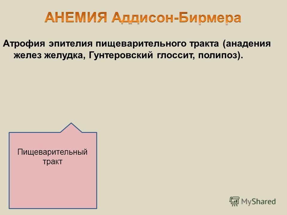 Пищеварительный тракт Атрофия эпителия пищеварительного тракта (анадения желез желудка, Гунтеровский глоссит, полипоз).