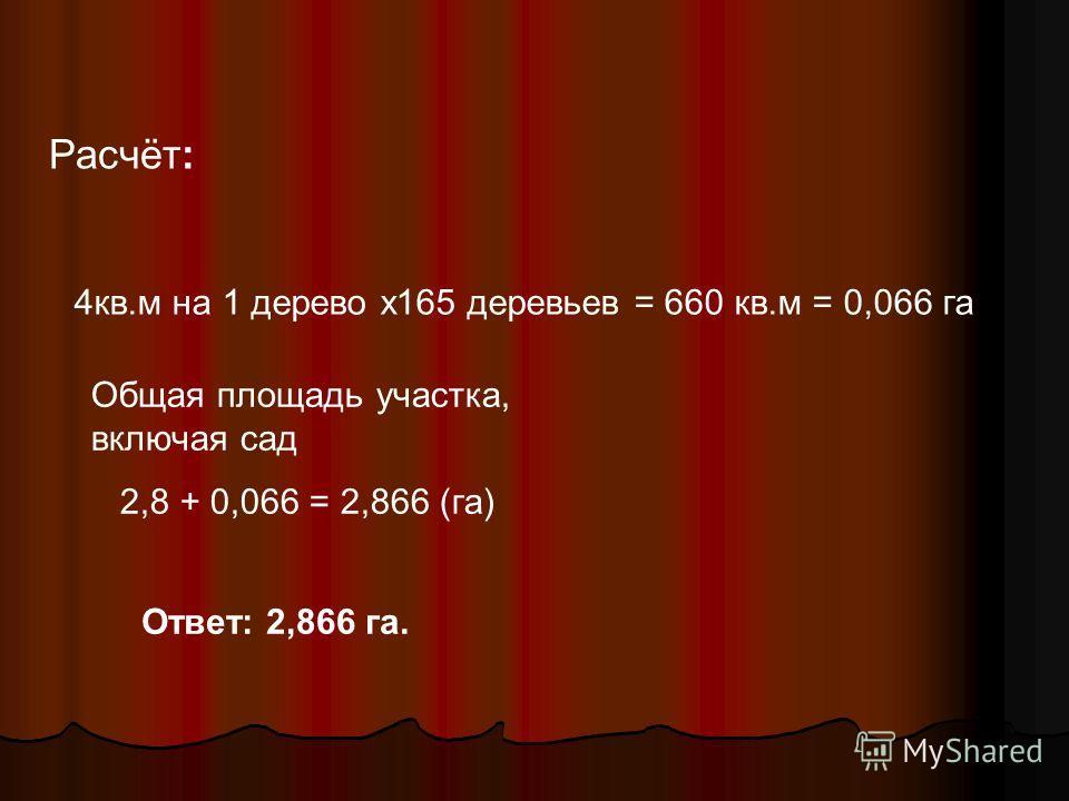 Расчёт: 4кв.м на 1 дерево х165 деревьев = 660 кв.м = 0,066 га Общая площадь участка, включая сад 2,8 + 0,066 = 2,866 (га) Ответ: 2,866 га.