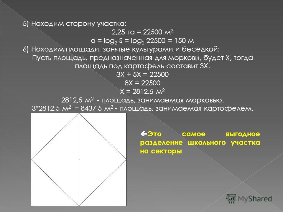 5) Находим сторону участка: 2,25 га = 22500 м 2 a = log 2 S = log 2 22500 = 150 м 6) Находим площади, занятые культурами и беседкой: Пусть площадь, предназначенная для моркови, будет X, тогда площадь под картофель составит 3X. 3X + 5X = 22500 8X = 22