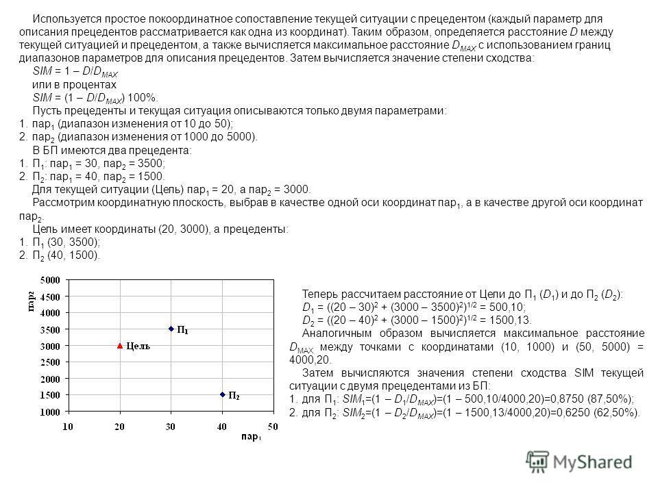 Используется простое покоординатное сопоставление текущей ситуации с прецедентом (каждый параметр для описания прецедентов рассматривается как одна из координат). Таким образом, определяется расстояние D между текущей ситуацией и прецедентом, а также