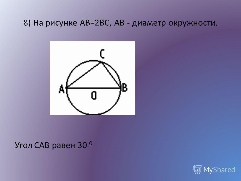 8) На рисунке AB=2ВС, AB - диаметр окружности. Угол САВ равен 30 0