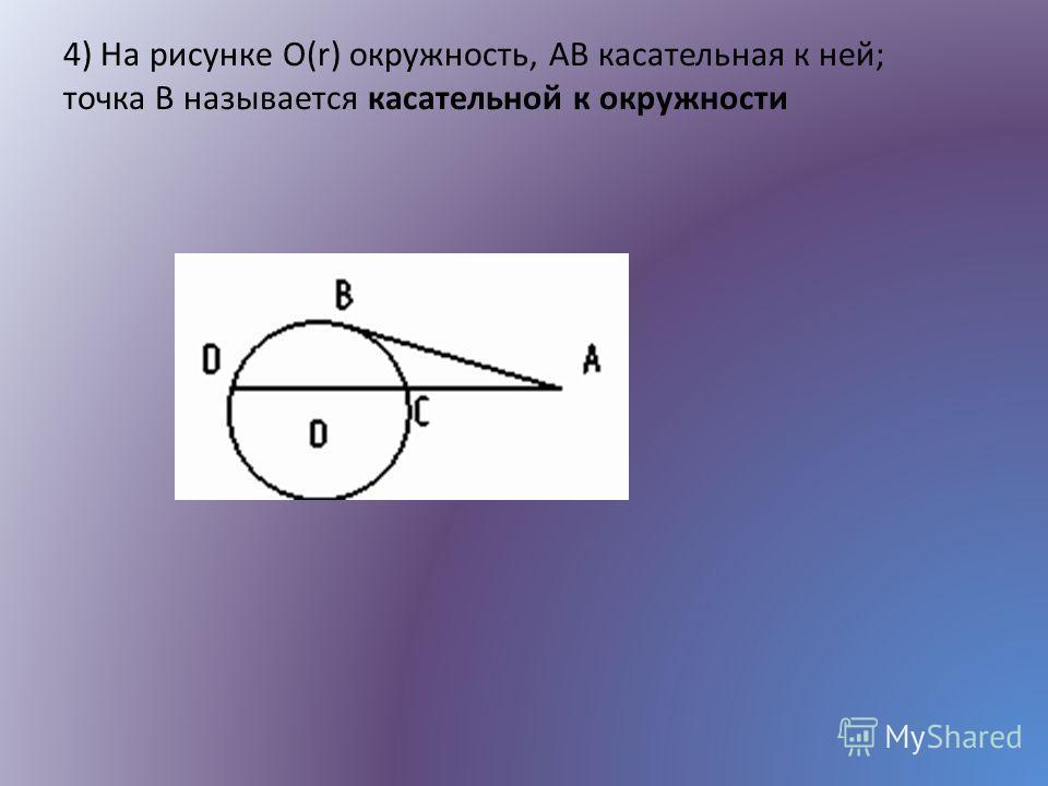 4) На рисунке О(r) окружность, AB касательная к ней; точка B называется касательной к окружности