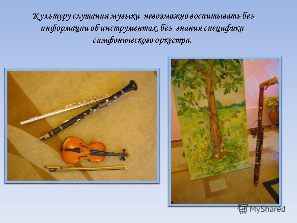 Культуру слушания музыки невозможно воспитывать без информации об инструментах, без знания специфики симфонического оркестра.