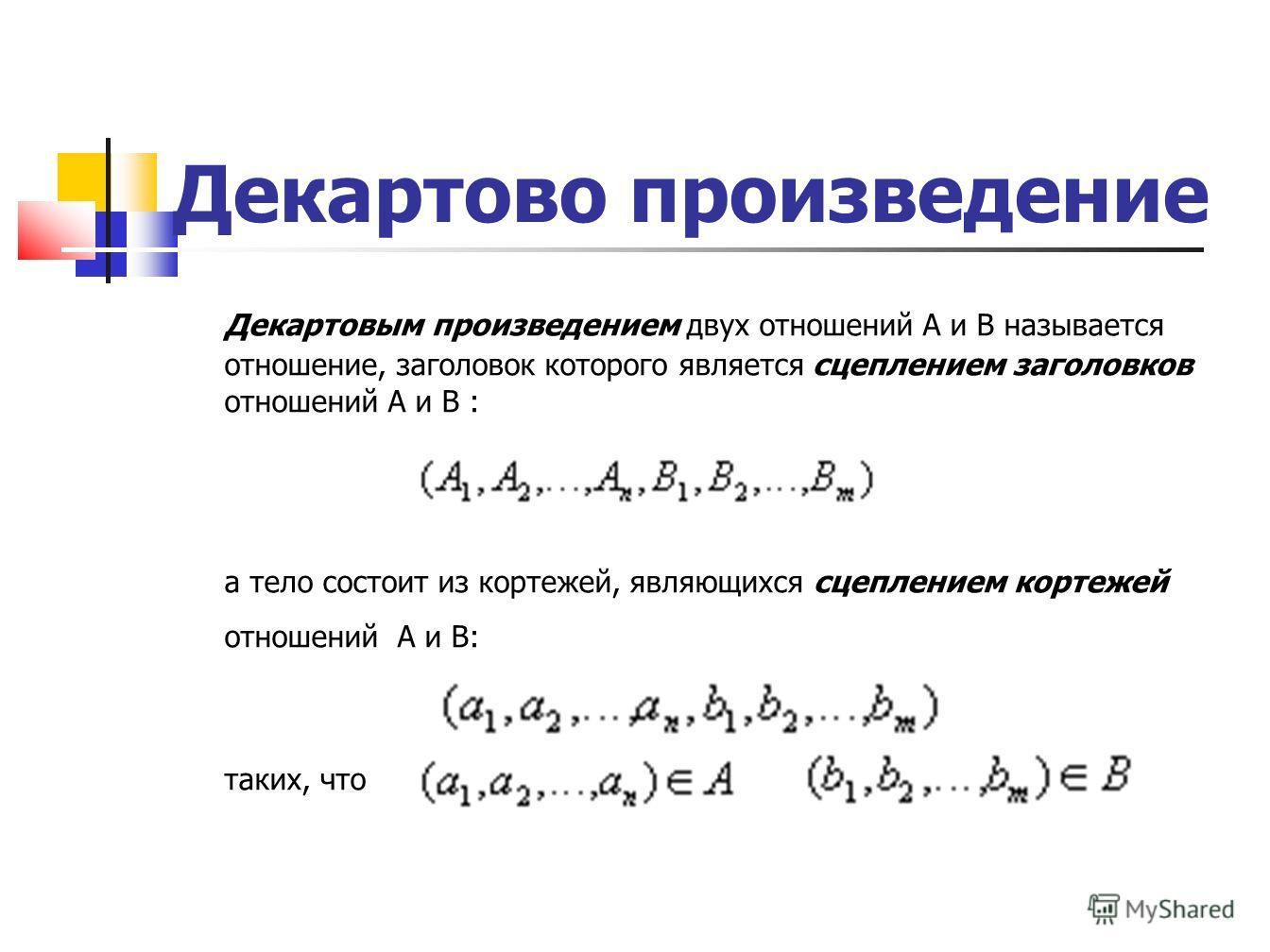 Декартово произведение Декартовым произведением двух отношений A и B называется отношение, заголовок которого является сцеплением заголовков отношений A и B : а тело состоит из кортежей, являющихся сцеплением кортежей отношений A и B: таких, что
