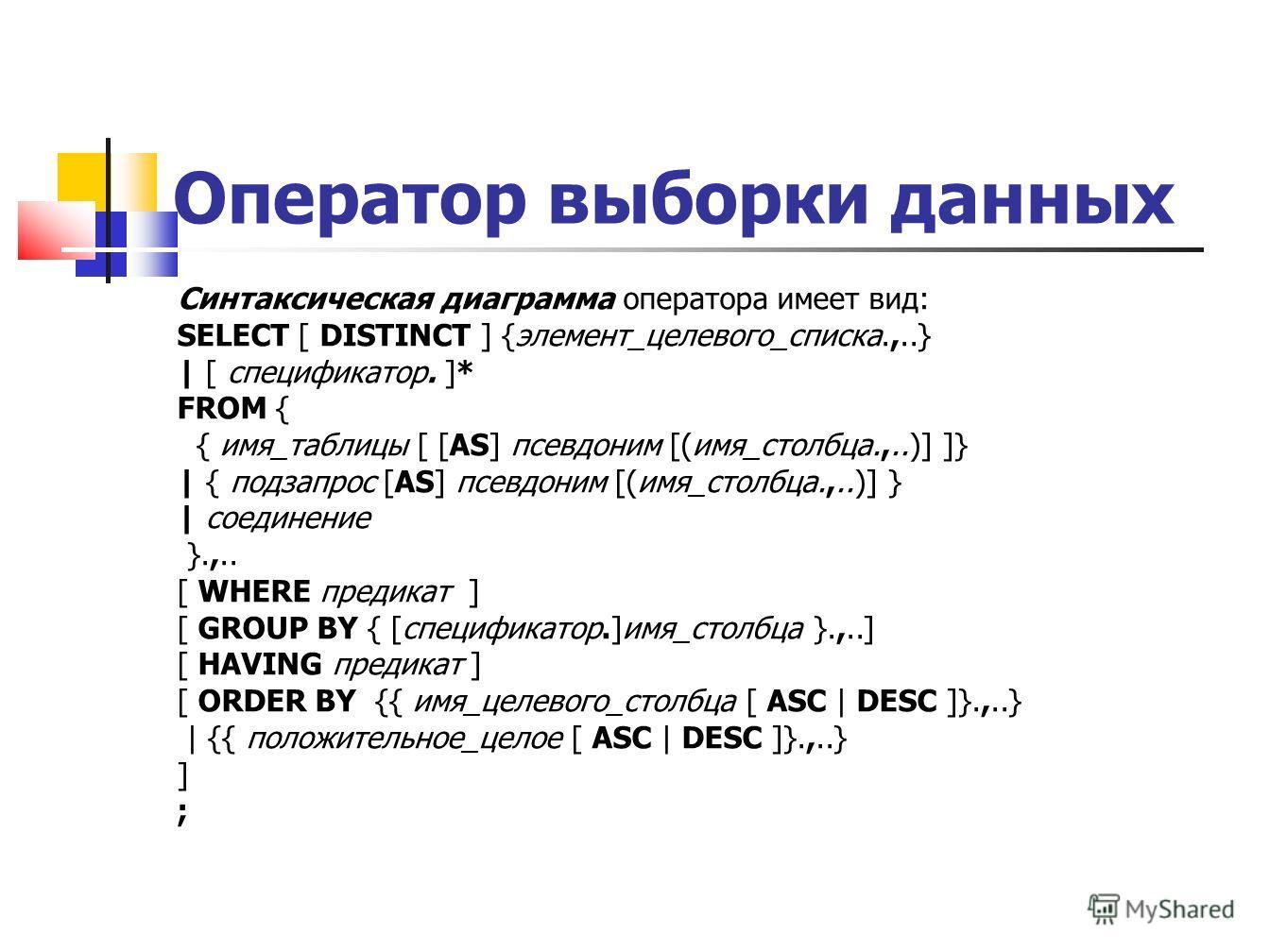Оператор выборки данных Синтаксическая диаграмма оператора имеет вид: SELECT [ DISTINCT ] {элемент_целевого_списка.,..} | [ спецификатор. ]* FROM { { имя_таблицы [ [AS] псевдоним [(имя_столбца.,..)] ]} | { подзапрос [AS] псевдоним [(имя_столбца.,..)]